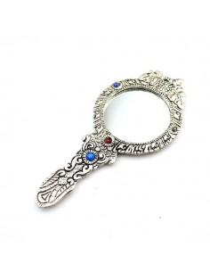 Miroir indien métal argenté