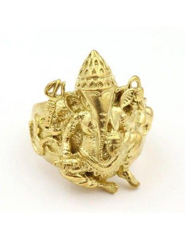 Bague éléphant Ganesh dorée ethnique - Mosaik bijoux indiens