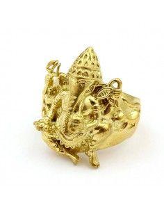 Bague éléphant Ganesh dorée ethnique - Mosaik bijoux indiens 2