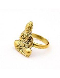 Bague laiton Bouddha travaillé - Mosaik bijoux indiens