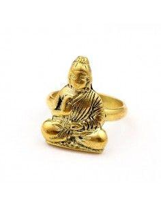 Bague laiton Bouddha travaillé - Mosaik bijoux indiens 2