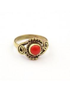 Bague dorée pierre rouge travaillée - Mosaik bijoux indiens