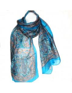 Foulard turquoise à motifs