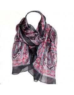 Foulard soie noir et rose à...
