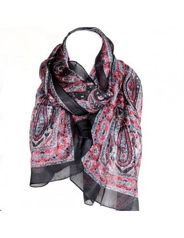ac9f72c497a0 Achat foulard soie noir et rose  boutique Mosaik  fs140