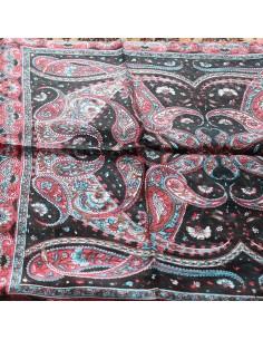 Foulard soie noir et rose à... 2