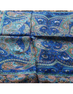 Foulard en soie bleu roi à... 2