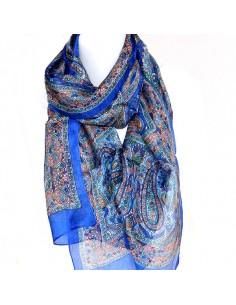 Foulard en soie bleu roi à...