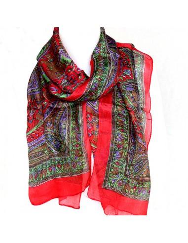 Foulard rouge en soie - Mosaik bijoux indiens