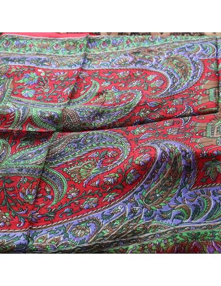 Foulard soie rouge et violet - Mosaik bijoux indiens