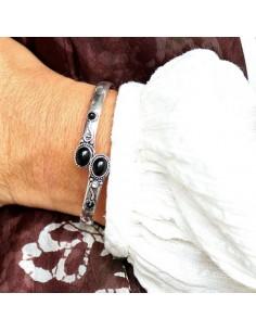 Bracelet plaqué argent et onyx 2