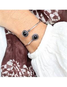 Bracelet plaqué argent et onyx - Mosaik bijoux indiens 2