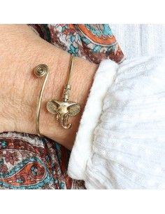 Bracelet éléphant laiton doré 2