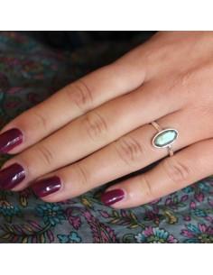 Bague fine argent et labradorite ovale - Mosaik bijoux indiens 2