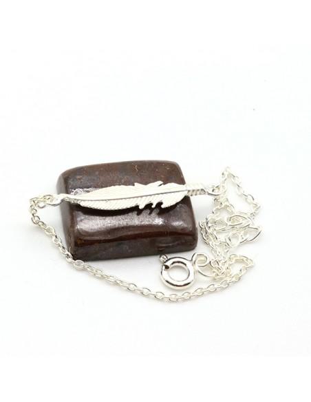 Bracelet fin argent et plume - Mosaik  bijoux indiens