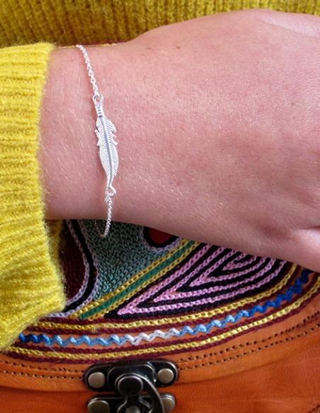 Bracelet plume en argent - Mosaik  bijoux indiens