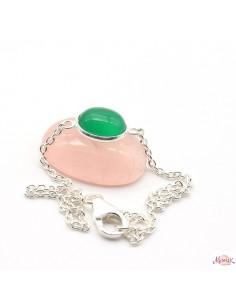 Bracelet argent et agate verte