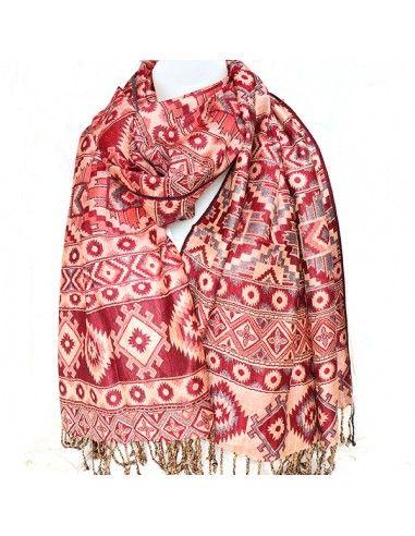 Grande écharpe rouille et beige - Mosaik bijoux indiens