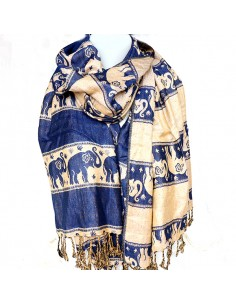 Étole bleue motifs éléphants