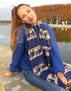Étole bleue motifs éléphants 2