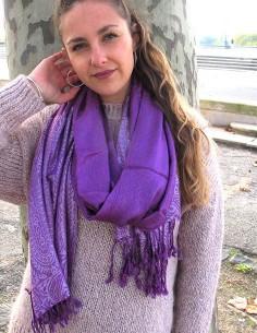 Echarpe violette viscose - Mosaik bijoux indiens 2