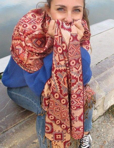 Grande écharpe rouge à motifs - Mosaik bijoux indiens