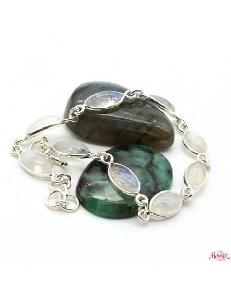 Bracelet argent fin et pierre de lune - Mosaik bijoux indiens