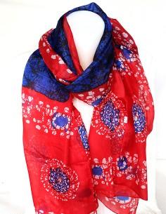 Foulard soie rouge et bleu