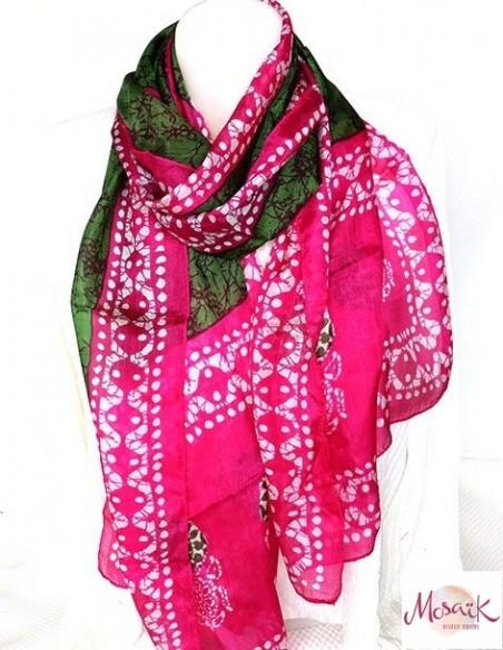 Foulard soie vert rose - Mosaik bijoux indiens