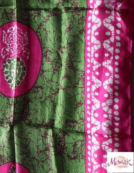 Foulard rose vert soie - Mosaik bijoux indiens