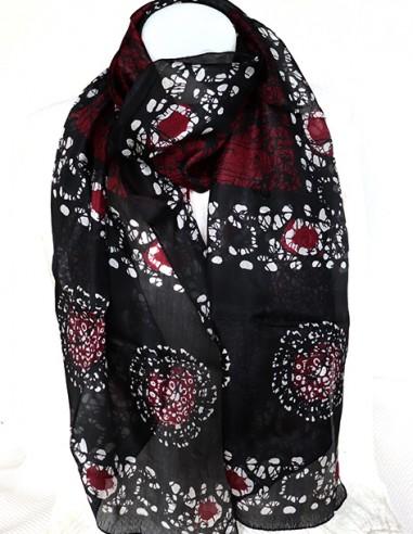 Achat foulard soie noir et bordeaux   boutique Mosaik  fs157 c28792e820d