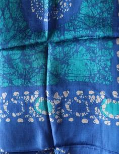 Foulard en soie bleu et... 2