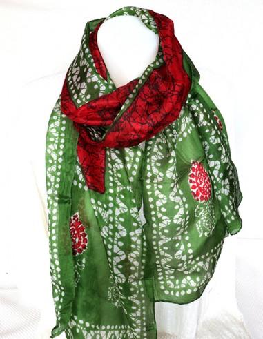 Foulard rouge et vert soie - Mosaik bijoux indiens
