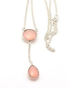Collier argent et quartz rose