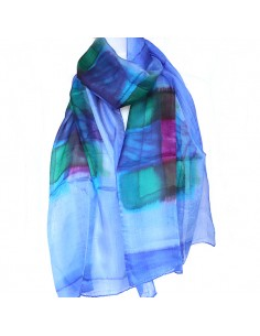 Foulard en soie bleu dégradé