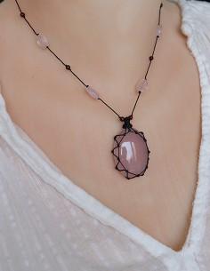 Collier fil de coton quartz... 2