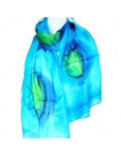 Foulard en soie turquoise...
