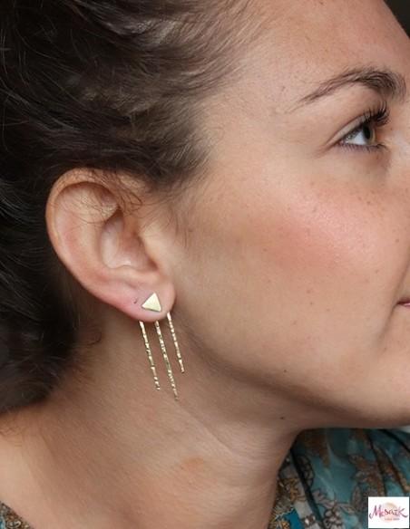 Clous d'oreilles en laiton martelé - Mosaik bijoux indiens