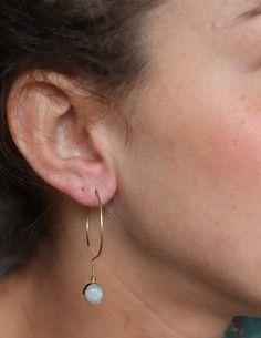 Boucles d'oreilles dorées et pierre de lune - Mosaik bijoux indiens 2