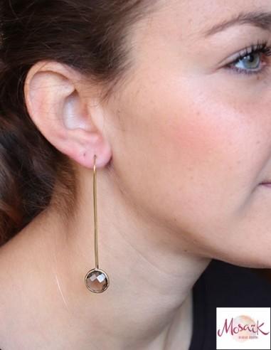 Boucles d'oreilles fines laiton et quartz fumé - Mosaik bijoux indiens