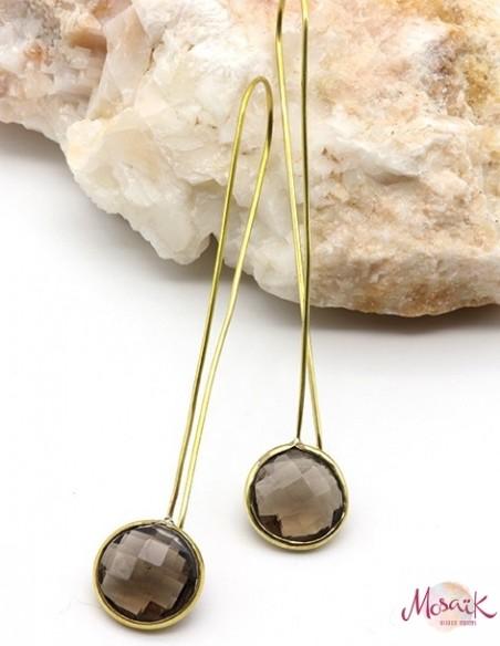 Fines boucles d'oreilles dorées et quartz fumé - Mosaik bijoux indiens