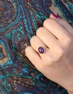 Bague fine laiton et améthyste naturelle - Mosaik bijoux indiens 2