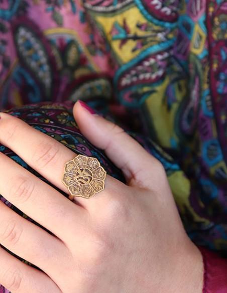 Bague dorée symboles indiens - Mosaik bijoux indiens