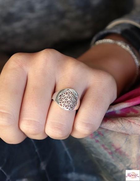 Bague fleur de vie ronde argentée - Mosaik bijoux indiens