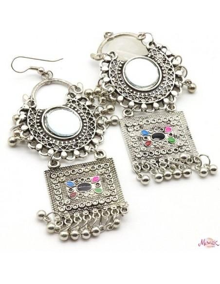 Boucles d'oreilles ethniques - Mosaik bijoux indiens