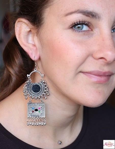 Boucles d'oreilles à grelots ethniques - Mosaik bijoux indiens