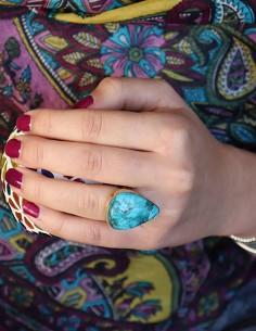 Bague dorée en laiton et grosse turquoise - Mosaik bijoux indiens 2