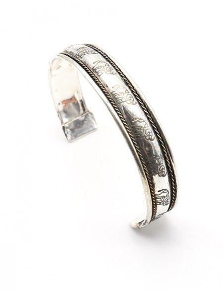 Bracelet argenté motif éléphant - Mosaik bijoux indiens