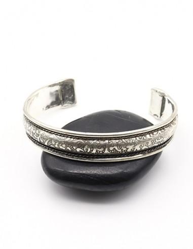 Bracelet argenté travaillé - Mosaik bijoux indiens