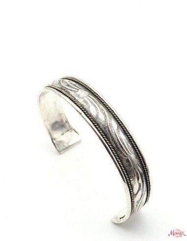 Bracelet fin argenté travaillé - Mosaik bijoux indiens
